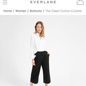 Everlane Clean Cotton Culotte, Black size 2